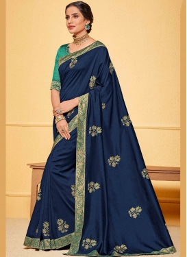 Unique Poly Silk Navy Blue Classic Saree