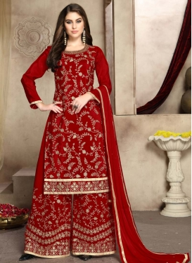 Uppada Silk Palazzo Straight Salwar Kameez For Ceremonial