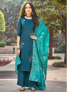Uppada Silk Palazzo Style Pakistani Salwar Suit