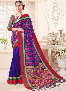 Urbane Art Silk Print Blue Designer Saree