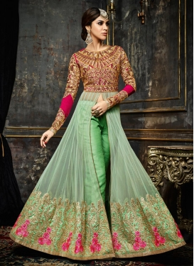 Vehemently Mint Green and Rose Pink Pant Style Designer Salwar Kameez