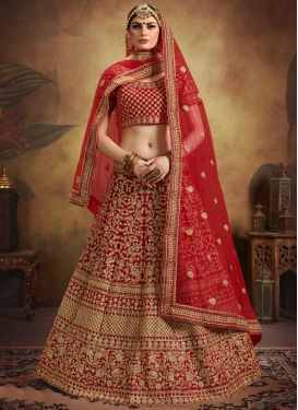 Velvet A Line Lehenga Choli For Bridal