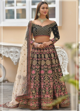 Velvet Beads Work A Line Lehenga Choli