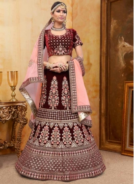 Velvet Beads Work Lehenga Choli