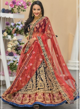 Velvet Beads Work Navy Blue and Red Trendy A Line Lehenga Choli