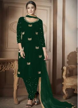 Velvet Beads Work Pant Style Designer Salwar Kameez