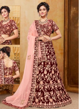 Velvet Beads Work Trendy Lehenga