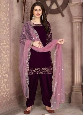 Velvet Designer Semi Patiala Salwar Suit