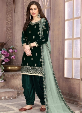 Velvet Embroidered Work Semi Patiala Salwar Kameez