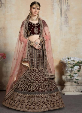 Velvet Embroidered Work Trendy Lehenga