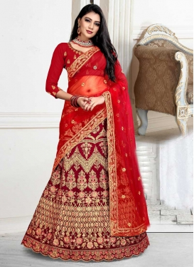 Velvet Embroidered Work Trendy Lehenga Choli