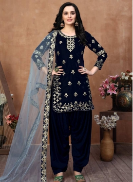 Velvet Embroidered Work Trendy Salwar Kameez