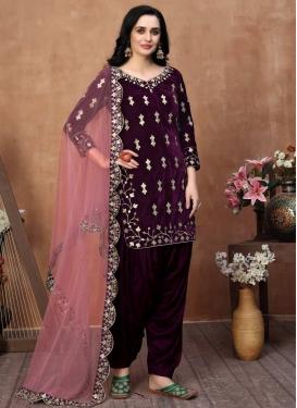 Velvet Embroidered Work Trendy Straight Salwar Suit
