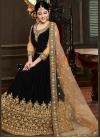 Velvet Floor Length Anarkali Suit in Black - 1