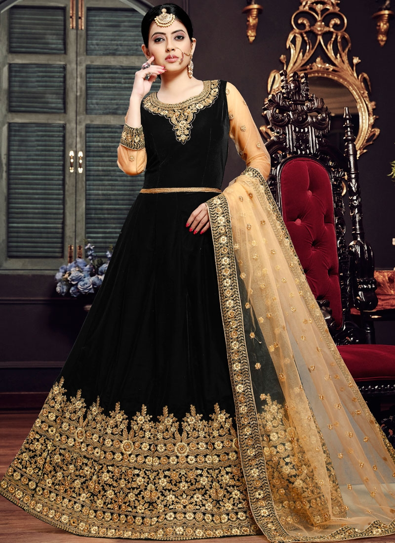 Velvet Floor Length Anarkali Suit in Black