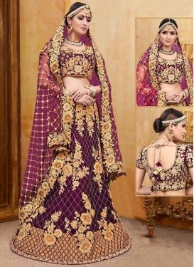 Velvet Lace Work Trendy Designer Lehenga Choli