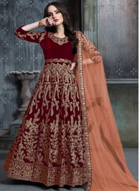 Velvet Long Length Designer Anarkali Suit