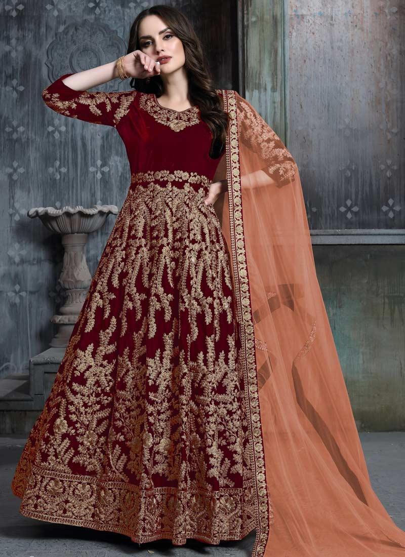 Velvet Long Length Designer Anarkali Suit