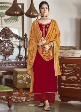 Velvet Palazzo Style Pakistani Salwar Suit