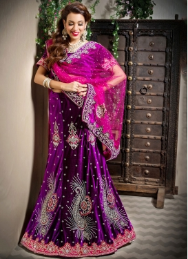 Velvet Purple Trendy Lehenga Choli
