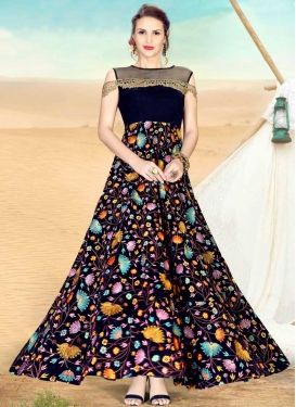 Velvet Readymade Floor Length Gown For Festival