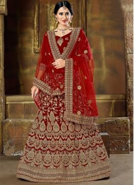 Velvet Trendy A Line Lehenga Choli For Bridal