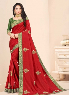 Vichitra Silk Booti Work Olive and Red Trendy Classic Saree