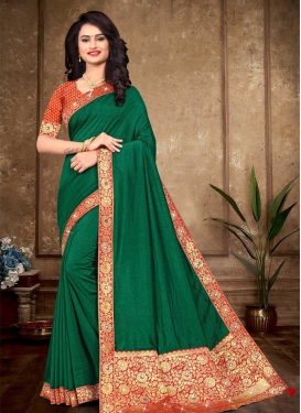 Vichitra Silk Bottle Green and Red Designer Traditional Saree