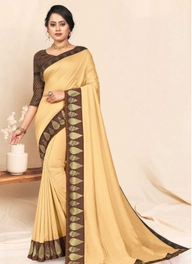 Vichitra Silk Brown and Cream Contemporary Style Saree