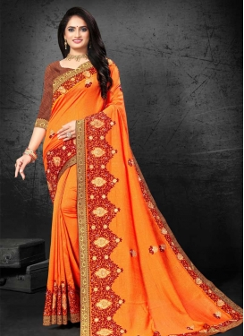 Vichitra Silk Contemporary Style Saree For Casual