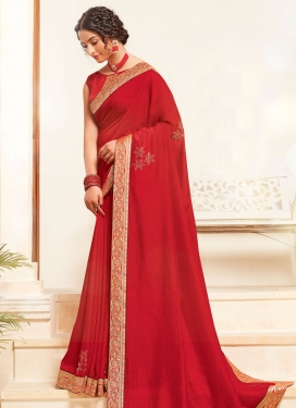 Vichitra Silk Designer Contemporary Saree