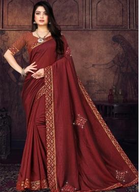 Vichitra Silk Designer Contemporary Saree For Casual