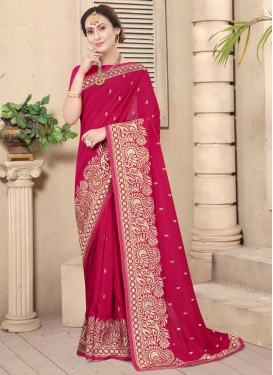 Vichitra Silk Embroidered Work Designer Contemporary Saree