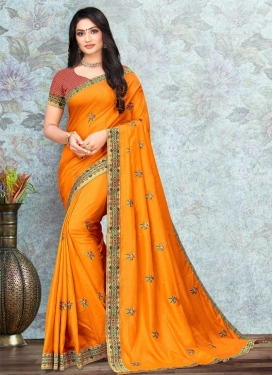 Vichitra Silk Embroidered Work Traditional Designer Saree