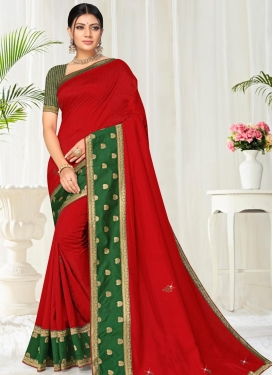 Vichitra Silk Green and Red Traditional Designer Saree