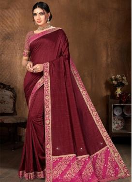 Vichitra Silk Lace Work Contemporary Style Saree