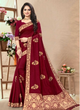 Vichitra Silk Lace Work Designer Contemporary Saree