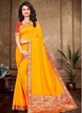 Vichitra Silk Lace Work Designer Contemporary Style Saree