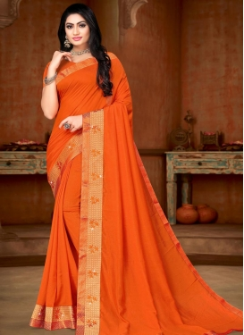 Vichitra Silk Lace Work Traditional Designer Saree