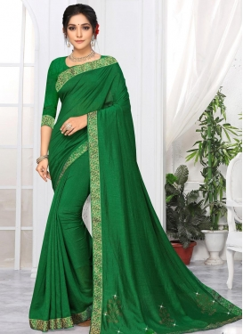 Vichitra Silk Lace Work Trendy Classic Saree