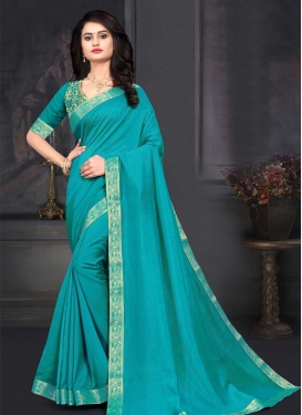 Vichitra Silk Lace Work Trendy Classic Saree