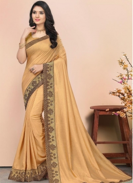 Vichitra Silk Stone Work Designer Contemporary Saree