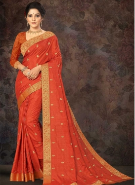 Vichitra Silk Traditional Designer Saree For Casual