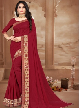 Vichitra Silk Trendy Classic Saree For Casual