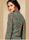 Viscose Abstract Print Sea Green Pant Style Suit - 2