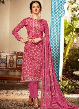 Viscose Abstract Print Rose Pink Pant Style Suit