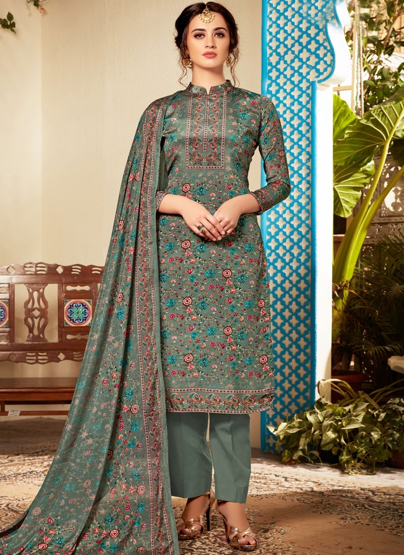 Viscose Abstract Print Sea Green Pant Style Suit