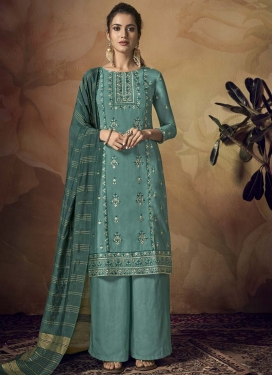 Viscose Embroidered Work Palazzo Straight Salwar Kameez