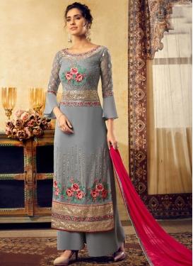 Viscose Embroidered Work Palazzo Style Pakistani Salwar Suit