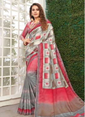 Viscose Grey and Red Designer Contemporary Saree